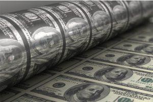 Printing USA dollars bills close up